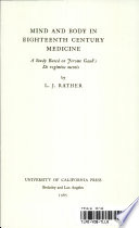 Mind And Body In Eighteenth Century Medicine : ...