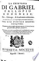 La chirurgia di Gabriel Fallopio