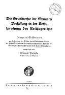 Die Grundrechte der Weimarer Verfassung in der Rechtsprechung des Reichsgerichts