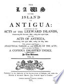 The Laws of the Island of Antigua