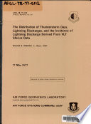 The Distribution of Thunderstorm Days  Lightning Discharges  and the Incidence of Lightning Discharge Derived from VLF Sferics Data Book PDF