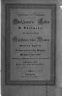 Supplement zu Shakespeare, enthaltend: Shakspeare's Leben von A. Chalmers. Charakteristik der Shakspeare'schen Dramen von William Hazlitt. [Translated by A. Jäger.] Sieben und dreissig Umrisse zu den 37 Shakspeare'schen Dramen und Portrait Shakspeare's in Stahlstich