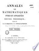 illustration du livre Annales de mathématiques pures et appliquées