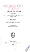 The Home Book of Verse  American and English  1580 1918 Book PDF