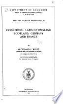 Commercial Laws Of England Scotland Germany And France