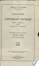 Catalog of Copyright Entries  New Series