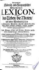 Neu vermehrtes Historisch  und Geographisches Allgemeines Lexicon
