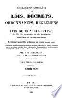 Collection complete des lois  decrets  ordonnances  reglemens et avis du Conseil d Etat