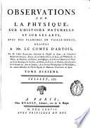 Observations et Memoires sur la Physique  sur L Histoire Naturelle et sur les Arts et M  tiers