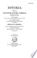 Istoria della letteratura greca profana, recata in italiano da Emil. Tipaldo