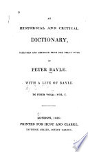An Historical And Critical Dictionary