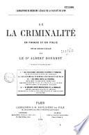 De la criminalité en France et en Italie