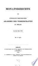 Monatsbericht der Königlich-Preussischen Akademie der Wissenschaften zu Berlin