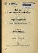 Beiträge zur pharmazeutischen Analyse