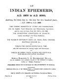 An Indian Ephemeris  A D  1800 to A D  2000