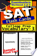SAT Test Prep College Prep Vocabulary 3 Review  Exambusters Flash Cards  Workbook 3 of 9