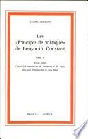 """Les """"Principes de politique"""" de Benjamin Constant"""