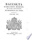 Raccolta di regi editti, proclami, manifesti ed altri provvedimenti de' magistrati ed Uffizi