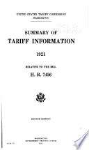 Summary of tariff information  1921  relative to the bill H  R  7456