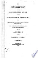 The Constitution of the North Western Branch of the American Society for Educating Pious Youth for the Gospel Ministry