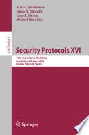 Security Protocols Xvi
