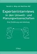 Experteninterviews in den Umwelt- und Planungswissenschaften