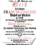 Geist des Heiligen Francisci Salesii, Bischoff und Fürstens zu Genff