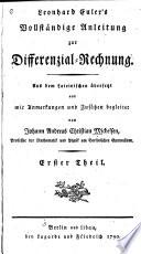 Leonhard Euler s Vollstandige Anleitung Zur Differenzial rechnung