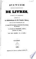 Notice d une belle et nombreuse collection de livres  de droit et de jurisprudence  provenant de la biblioth  que de M  Vander Sloten