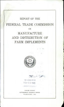 Report on manufacture and distribution of farm implements