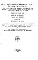Bibliographie Internationale de L histoire Des Religions