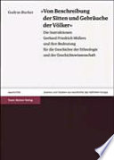 """""""Von Beschreibung der Sitten und Gebräuche der Völcker"""""""