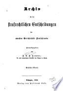 Archiv für die strafrechtliche Entscheidungen der obersten Gerichtshöfe Deutschlands