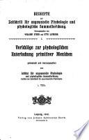 Zeitschrift f  r angewandte Psychologie und Charakterkunde