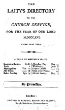 the laity s directory to the service  for the  year of our lord