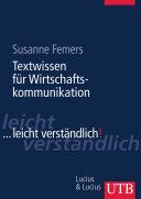 Textwissen für die Wirtschaftskommunikation