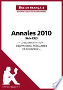 Bac de français 2010 - Annales Série ES/S (Corrigé)