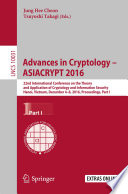 Advances in Cryptology – ASIACRYPT 2016