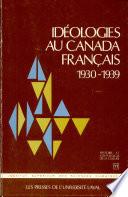 Id  ologies au Canada fran  ais  1930 1939
