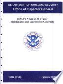 FEMA's Award of 36 Trailer Maintenance & Deactivation Contracts
