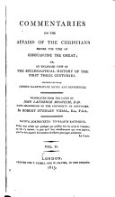 download ebook commentaries on the affairs of the christians before the time of constantine the great pdf epub