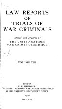 Law Reports of Trials of War Criminals