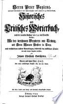 Historisches und critisches Wörterbuch