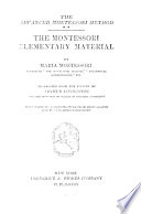 The Montessori elementary material  tr  by A  Livingston