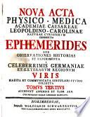 Acta physico-medica academiae Caesareae Leopoldino-Carolinae naturae curiosorum