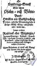 En Wandringz Staaff aller lijten Psalm och B  ne Book