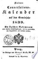 Kleiner Conversations-Kalender auf das Gemeinjahr 1839