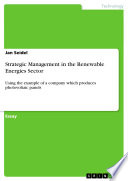Strategic Management in the Renewable Energies Sector