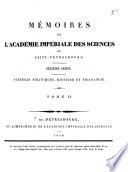 illustration Mémoires de l'Académie impériale des sciences de St.-Pétersbourg, Sciences politiques, histoire, philologie. VIme série