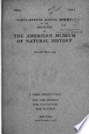 The Annual Report Of The American Museum Of Natural History